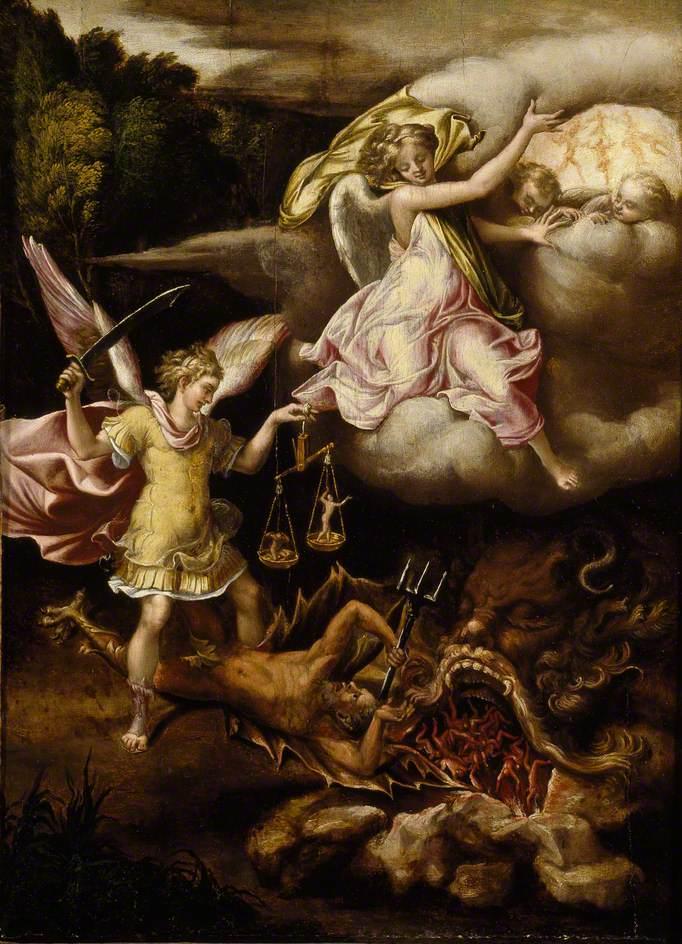 Saint Miguel subduing Satan-Lelio Orsi2
